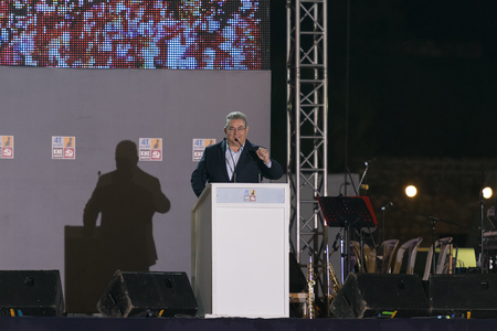 the chairman: Athens, Greece 10 October 2015. Public speech of the left wing chairman Dimitris Koutsoubas in the every year KKE festival.