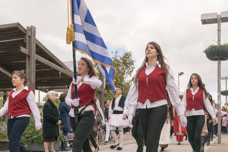 28: Athens, Greece, 28 October 2015. Greek students parade to celebrate the national holiday of the Ochi Day.