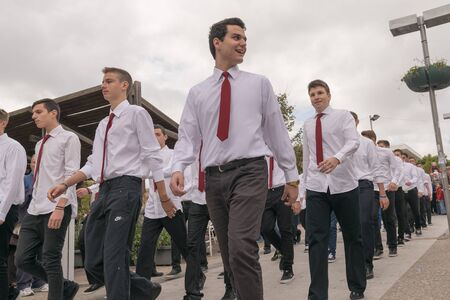 28: Athens, Greece, 28 October 2015. Boys parade in national celebration of Ochi day in Athens.