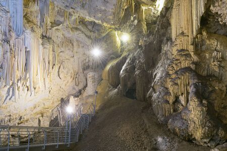 stalagmites: Antiparos island with a cave full of stalactites and stalagmites.