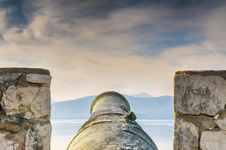 nafplio: Beautiful canon of the old age at Nafplio in Greece. Stock Photo