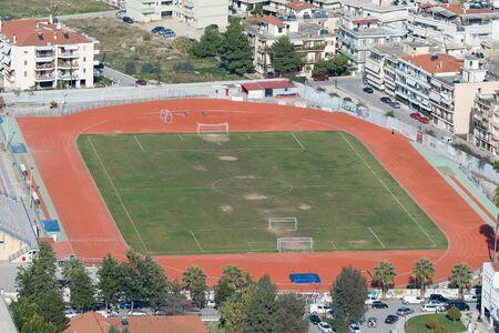 nafplio: Nafplio, Greece 28 December 2015. Football local stadium of Nafplio in Geece. An aerial view.
