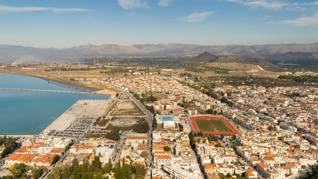 nafplio: City of Nafplio in Greece. Aerial view. Stock Photo