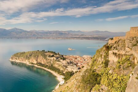 bourtzi: Aerial view of Nafplio old city in Greece. View from palamidi castle.