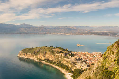 Top view of of Nafplio in Greece with castle Bourtzi and the old city.
