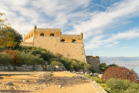 nafplio: Palamidi castle at Nafplio in Greece landscape.
