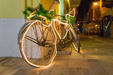 nafplio: Christmas bicycle decorated at Nafplio in Greece.