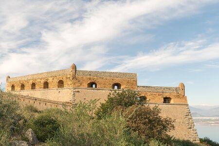 nafplio: Beautiful landscape of Palamidi fort in Nafplio Greece. Stock Photo