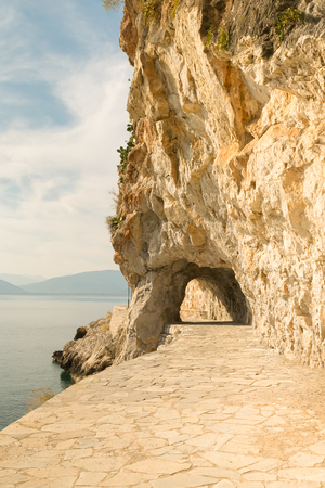 nafplio: Akronafplia road at Nafplio Greece. A traditional road for walking and relaxing.