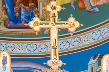 iconography: Athens, Greece 21 May 2016. Iconography of Jesus Christ crucified at a church.
