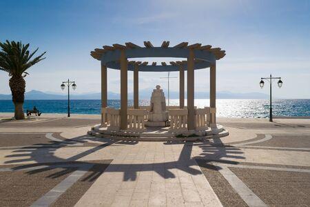 touristic: Central square at Loutraki in Greece. A famous touristic destination.