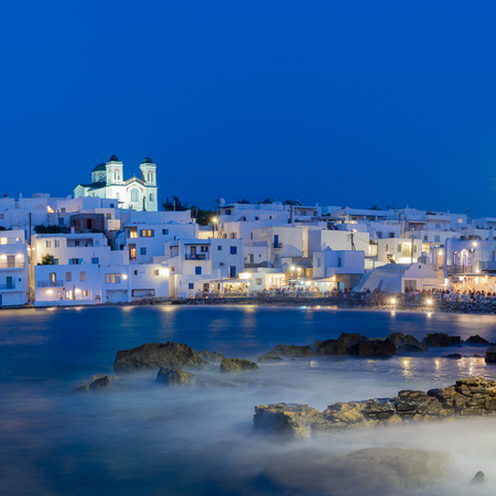 Local church of Naoussa village at Paros island in Greece. 스톡 콘텐츠