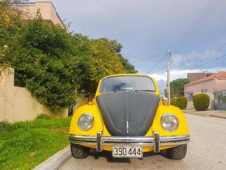 Athens, Greece 28 December 2017. Retro vintage beatle sport car on the road. Redakční