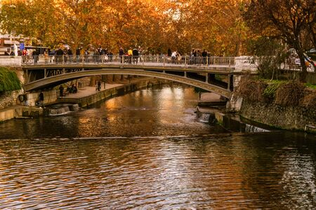 Trikala, Greece 27 December 2018. Trikala bridge with tourists and local people in Christmas time.