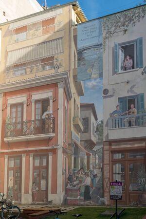 Trikala, Greece 27 December 2018. Famous mural at