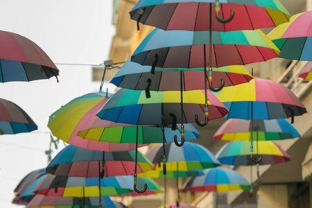 Trikala, Greece 27 December 2018. Road with umbrellas at Trikala in Greece. 에디토리얼
