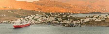 Gavrio port at Andros island in Greece panorama.