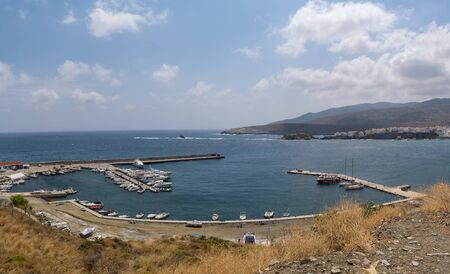 Andros port at Chora in Greece . 스톡 콘텐츠