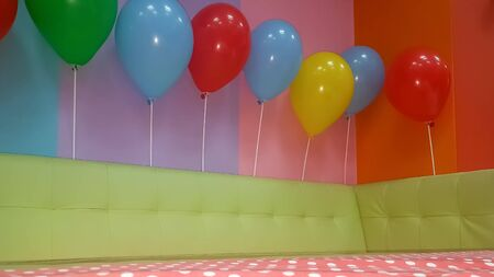 Kids party ready to start. Colorful decoration.