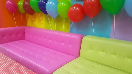 Kids party at a kindergarten. Colorful background.