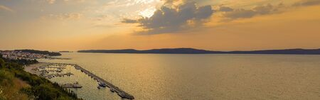 Pilos in Greece panorama during sunset 스톡 콘텐츠
