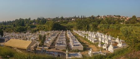 Panorama of an cemetary in Greece. 에디토리얼