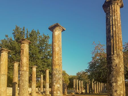 Peloponnese, Greece 23 August 2017. Famous touristic destination of ancient Olympia in Greece.
