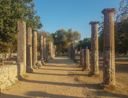 Peloponnese, Greece 23 August 2017. Sanctuary of ancient Olympia in  Greece. 에디토리얼