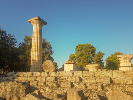 Peloponnese, Greece 23 August 2017. Ruins of ancient Olympia in Greece. Famous touristic destination.