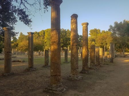 Peloponnese, Greece 23 August 2017. Columns of ancient Olympia in Greece at Peloponnese.
