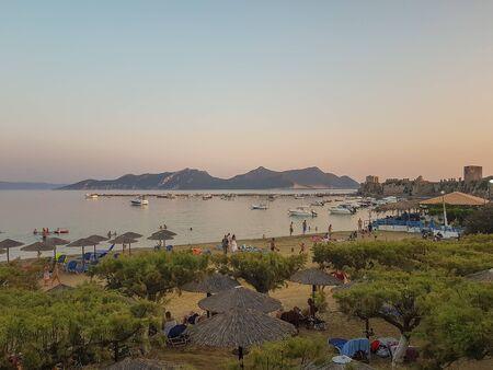 Methoni, Greece 9 August 2017. People enjoying their time at Methoni beach in Peloponnese in Greece.