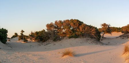 Panorama of Simos beach in Greece.