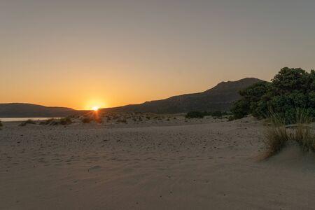 Simos beach in Elafonisos. Sunset. 스톡 콘텐츠