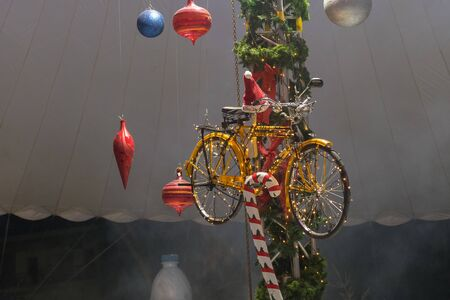 Hanging bicycle decoration for Christmas. Stok Fotoğraf