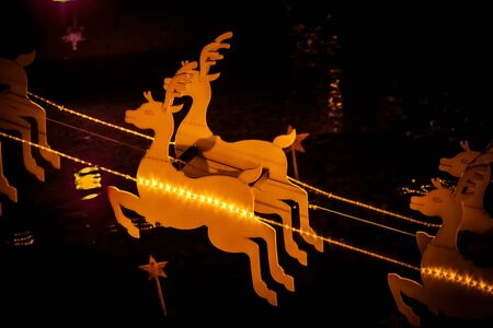 Deer christmas decoration with lights.