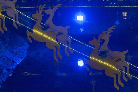 Santa's deer christmas decoration with lights.
