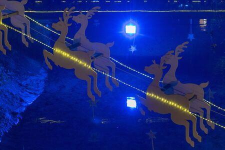 Santa's deer christmas decoration with lights.