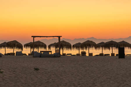 Famous touristic beach Simos at Elafonisos in Greece. 스톡 콘텐츠