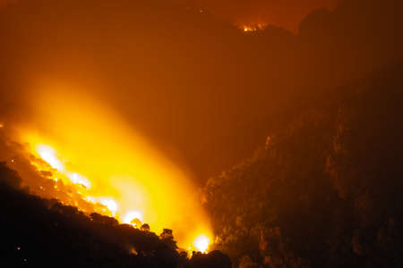 Mountain under fire at Loutraki in Greece. 스톡 콘텐츠