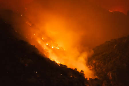 Forest under fire at Loutraki in Greece.