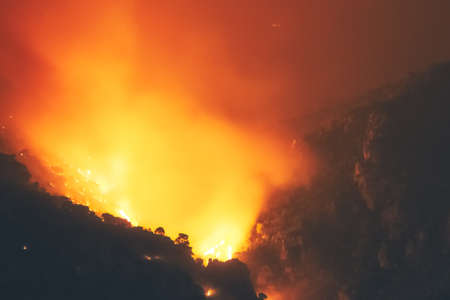 Fire destroying a forest at Loutraki in Greece.