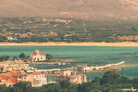 Town of Elafonisos with Saint Spyridon church at Elafonisos island in Greece. 스톡 콘텐츠