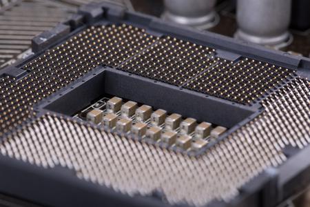 mainboard: socket mainboard closeup with elements