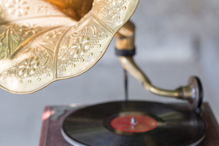 old gramophone with vinyl record. selective focus Stock Photo