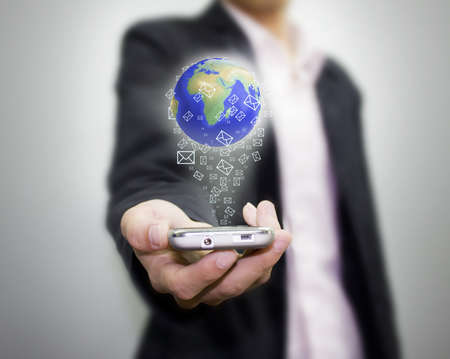 sms icon: Call the world. Stock Photo