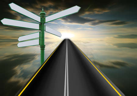infinity road: Road signs to the sky.