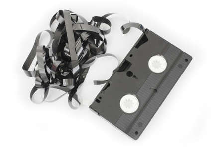 Video cassette out on a white background.