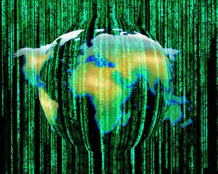 cryptogram: Globe background characters.