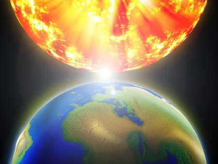 sun rising: Globe and Sun. Stock Photo