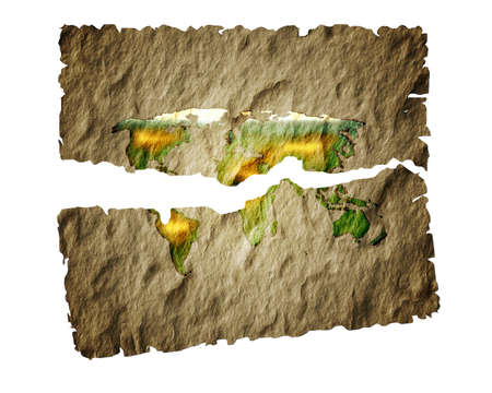 oversea: Old paper map of the world.